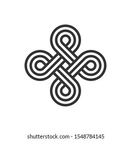 Infinite loop sign. Celtic interlocking knot. Endless loop. Old ornament strip. Eternity line. Interconnected circular shapes. Abstract perpetual motion icon.Bowen cross symbol.Vector illustration.