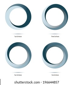 Infinite loop vector logo design elements. Impossible circle symbols with two to five surfaces.