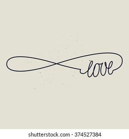 infinite love sign. forever line sign. black and white.