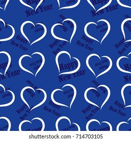 """Infinite pattern with the inscription """"Happy New Year"""". Blue background"""