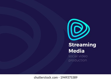 Infinite Play Music Audio Video Logo Digital Media application design vector template. Streaming service app Logotype concept icon Linear Outline style