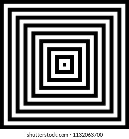Infinite squares. Repetition of square, squares infinite tunnel, black and white, Perspective, repetition vector.