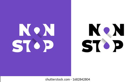 Infiniti logotypes logo non stop symbols on purple and white background. Editable. Isolated illustration