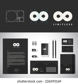 Infinity Abstract Logo Template and Identity with Flat Style Stationary Mock up Letterhead Envelope Smartphone Business Card etc. Limitless Symbol. Eternity Icon. Premium Logo for Any Brand.