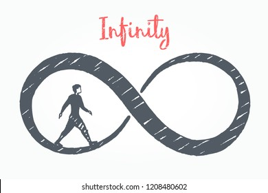Infinity, business concept art sketch. The man inside the number eight. Vector hand drawn illustration.