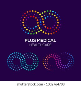 Infinity Colorful logo with Plus or Positive Signs, Line Dot and Pixel concept, Looped and Link symbol, Technology and Digital icon, Medical Healthcare Hospital for your Corporate identity