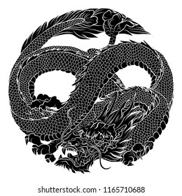 Infinity dragon in circle isolate on white background.Chinese lucky dragon eight shape in circle.Silhouette Japanese dragon.