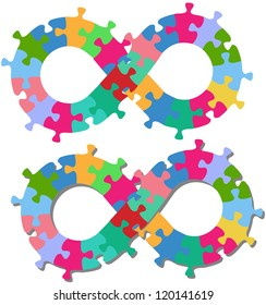 Infinity endless loop or figure eight shape jigsaw puzzle pieces isolated or with shadow