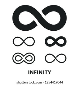 Infinity Eternity Symbol Sign Variations Set. Logo Template. Vector Flat Line Stroke Icon Pictogram