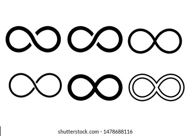 Infinity eternity symbol in variations set design. Infinity icon in variation set design template. Vector illustration.
