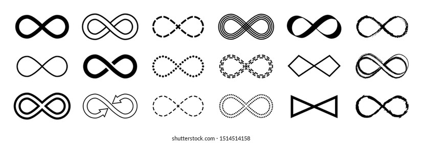 Infinity flat symbol vector set n white background