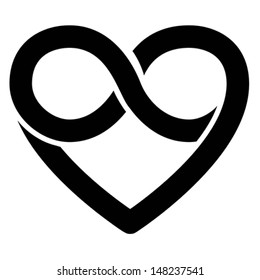 Infinity heart symbol. Love forever icon, vector Isolated on white