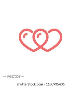 infinity of hearts icon, linear sign isolated on white background - editable vector illustration eps10