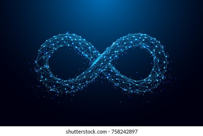 Infinity icon from lines and triangles, point connecting network on blue background. Illustration vector
