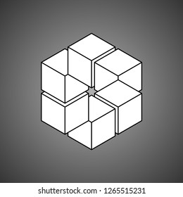 Infinity or Impossible hexagon. Impossible shape. Penrose figure. Unreal geometrical symbol from cubes. Vector Illustration