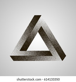 Infinity or Impossible Triangle. Penrose triangle with Black Dots. Vector Dotwork Illustration.