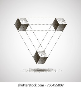 Infinity or Impossible Triangle with shadow. Penrose triangle with Black Dots. Unreal geometrical symbol from cubes. Pointillism. Vector Dotwork Illustration.