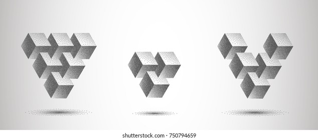 Infinity or Impossible Triangle with shadow. Penrose triangle set with Gray Dots. Unreal geometrical symbol from cubes. Pointillism. Vector Dotwork Illustration.