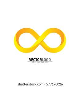 infinity or infinite symbol in yellow and orange - vector logo icon