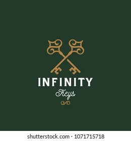 Infinity Keys. Abstract Vector Sign, Symbol or Logo Template. Crossed Keys Sillhouettes with Infinite Loop Elements and Classy Retro Typography. Vintage Vector Emblem. Green Background.