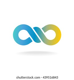 Infinity knot logo. Colorful chain link symbol with knot in a center.