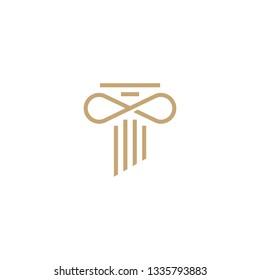 infinity law pillar logo vector icon