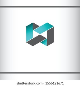 Infinity, Letter M or MM or MW. Blue and gray color. 3d effect. logo icon design template.