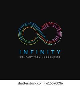Infinity Line Logo / Colorful Infinite Line Vector