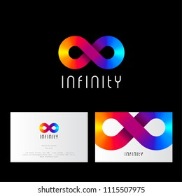 Infinity logo, like rainbow ribbon. Infinity abstract emblem. Identity and business card.