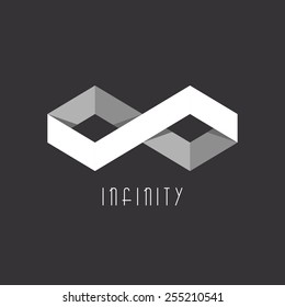 Infinity logo mockup of the two rhombus sign, black and white 3D geometric infinite symbol shape illusion, overlapping technique tech icon