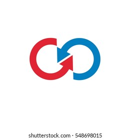 Infinity loop created with two direction arrows, conceptual vector logo isolated on white background.