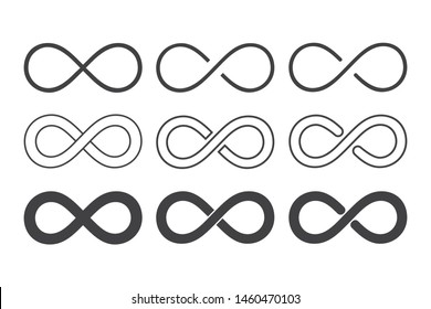 Infinity loop logo icon black and white. vector illustration.