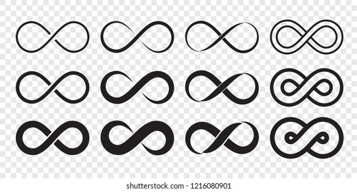 Infinity loop logo icon. Vector unlimited infinity, endless line shape sign - Shutterstock ID 1216080901