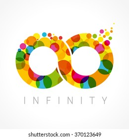 Infinity loop logotype. Stained glass vector multi coloured web button. Isolated branding corporate illustration, infinite emblem shape, template multicolored, one hundred element 100% % percent idea