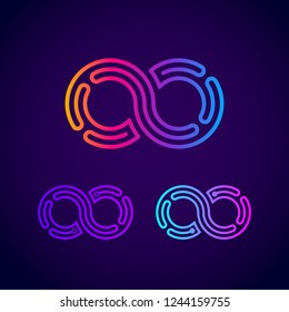 Infinity and Looped Colorful logo with Three Line Dots Circle shape , Link Maze Labyrinth, Technology and Digital Connection concept for your Corporate identity