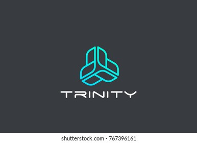 Infinity Looped Triangle abstract Logo design vector template Linear style. Corporate Business Technology infinite loop Logotype concept icon.