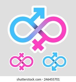 Infinity love concept, gender symbols. Vector.
