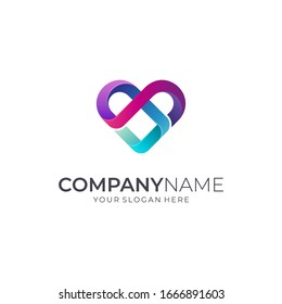 Infinity Love Logo Design with Colorful Line Style, Abstract Heart Vector Icon