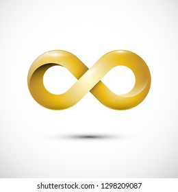 Infinity Love Symbol. Golden Loop Icon. Gold Endless Motion Icon.