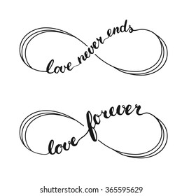 Infinity love symbol tattoo. Hand written calligraphy lettering text for invitation and greeting card for Valentines Day.