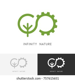 Infinity nature logo - gear wheel and green tree or plant symbol. Ecology, environment and industry vector icon.