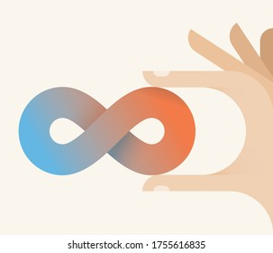 Infinity possibilities in human hands Concepts: endless future technologies, innovations potential, unlimited opportunities, life coaching, changing motivation, limitless success ways, mind power