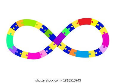 Infinity puzzle, great design for any purposes. Business concept. Isolated vector icon. Stock image. EPS 10.
