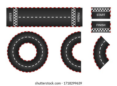 Infinity race. Track with start, finish and line on road. Curve and circle racetrack. Highway, asphalt, drift of car icon. 3d traffic background. Set of roadways for sport kart. Vector.