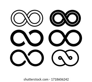Infinity set in abstract style on white background. Round logo. Future concept. Vector stock illustration.