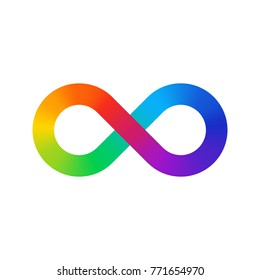 Infinity sign color spectrum. Rainbow gradient in the shape of the infinity symbol. Eight sign colorful gradient.