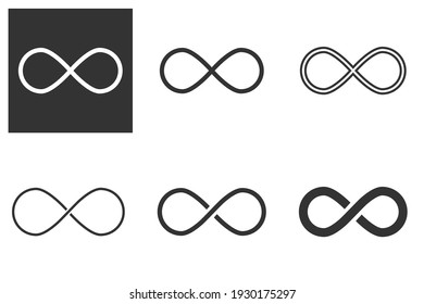 Infinity sign. Infinity flat icon. Mobius strip. Vector logo for web design, mobile and infographics. Vector illustration. Isolated on white background. Set
