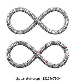 Infinity sign made of hydraulic hose or braided armored cable. Limitless strip symbol . Vector realistic illustration isolated on white background.