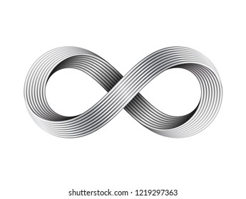 Infinity sign made of metal cables. Mobius strip symbol. Vector illustration isolated on white background.