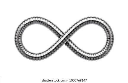 Infinity sign made of shower hose. Mobius strip symbol. Vector realistic illustration isolated on white background.